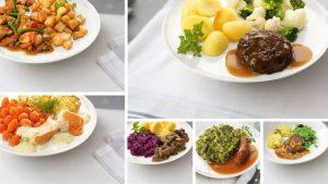 6 borden met hollandse maaltijden