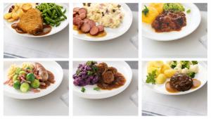 Overzicht met 6 borden eten